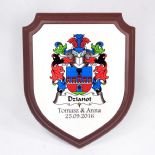 Polish Surname Family Crest Shield Plaque PERSONALISED, ref FCSP